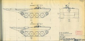 Early strv 103 concept sketch, dated August 1959. The sketch is almost two meters shorter than the eventual production version.