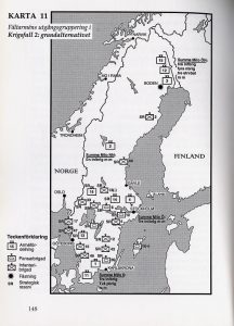 The basic initial deployment of the Swedish field army in the early Cold War era (Wallerfelt 1999)