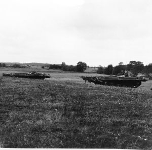Strv 103's hull down on exercise, at Revingehed in October 1970.